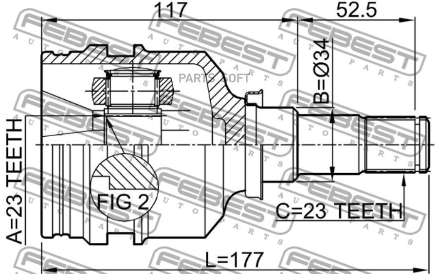Шрус Тойота TOYOTA  Corolla 89-07 внутренний