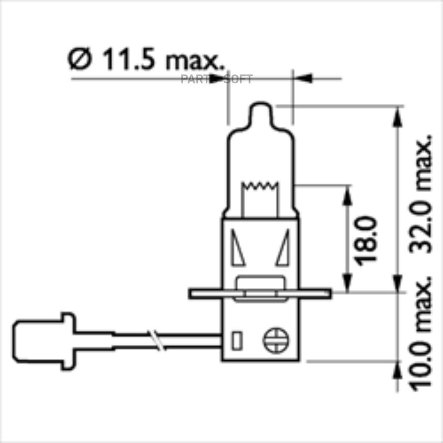 Лампа фары H3 24V 70W PK22s MasterDuty