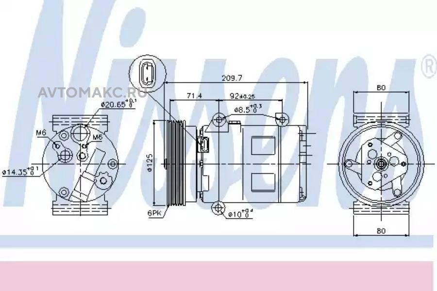 Компрессор кондиционера NISSAN ALMERA II (N16) 03-,ALMERA II Hatchback (N16) 03-,QASHQAI / QASHQAI +2 (J DENSO DCP23068