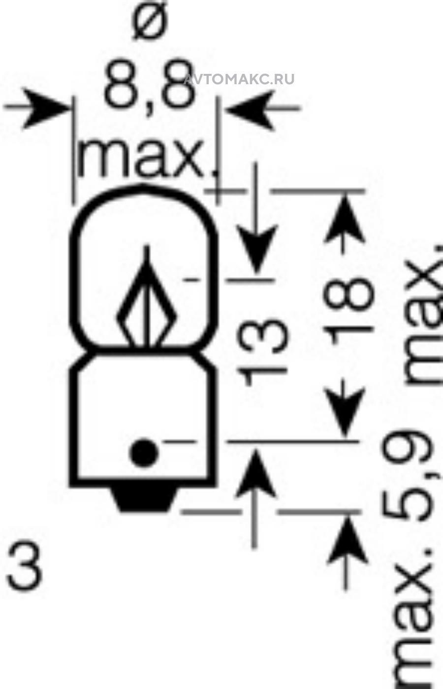 Лампа T4W 12V 2W BA9s ORIGINAL LINE качество оригинальной з/ч (ОЕМ) 1 шт.