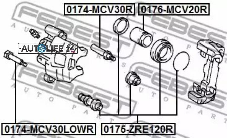 Направляющая RR суппорта TOYOTA CAMRY ACV30,SXV20,Vista SV5#, Caldina 24#