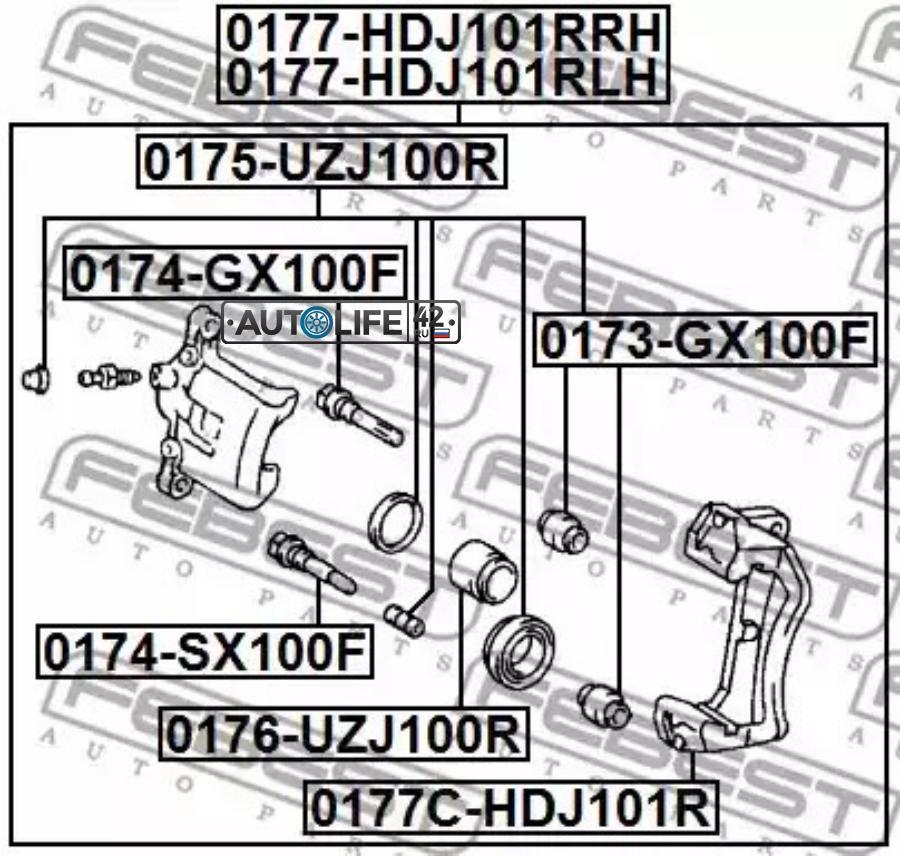 Суппорт тормозной RR RH TOYOTA LAND CRUISER 100 98-