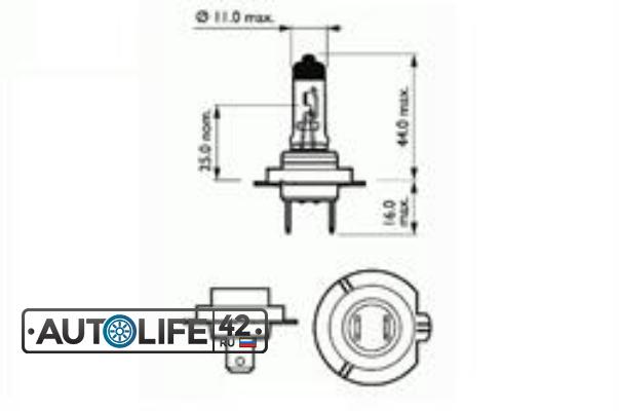 Лампа галоген H7 12В 55Вт
