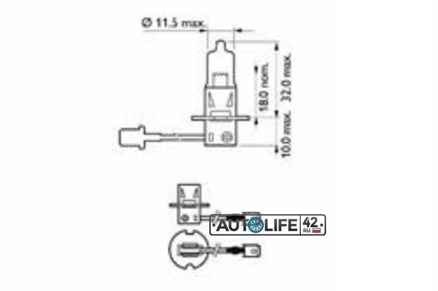Лампа галоген H3 12В 55Вт