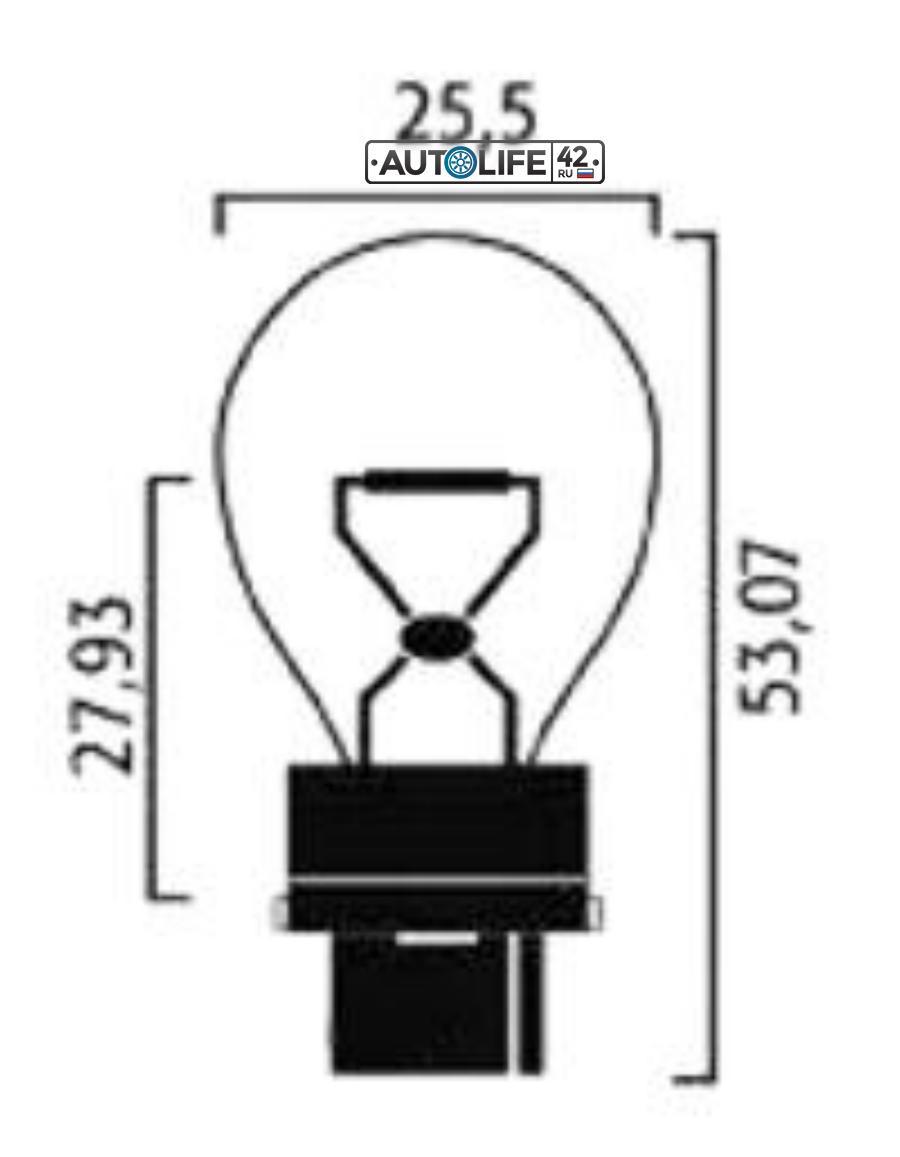 Лампа накаливания P27W 12В 27Вт
