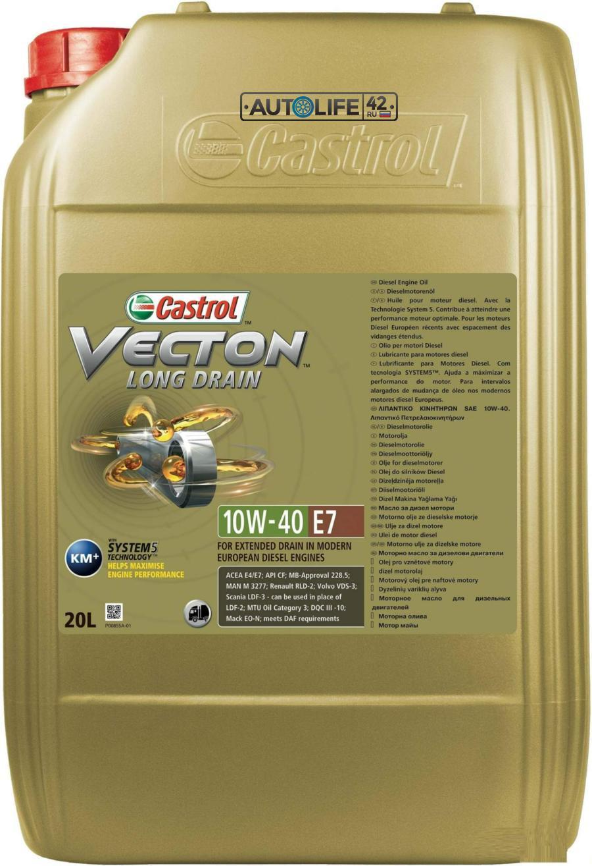 Моторное масло Castrol Vecton Long Drain 10W-40 E7 синтетическое, 20 л