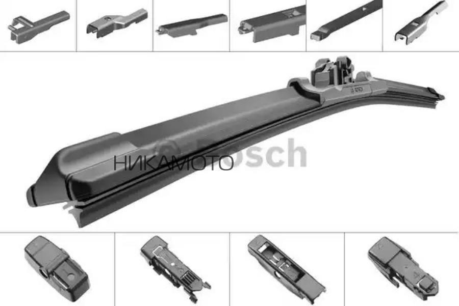 Щетка стеклоочистителя универсальная бескаркасная 375mm,10 адаптеров, Pilenga