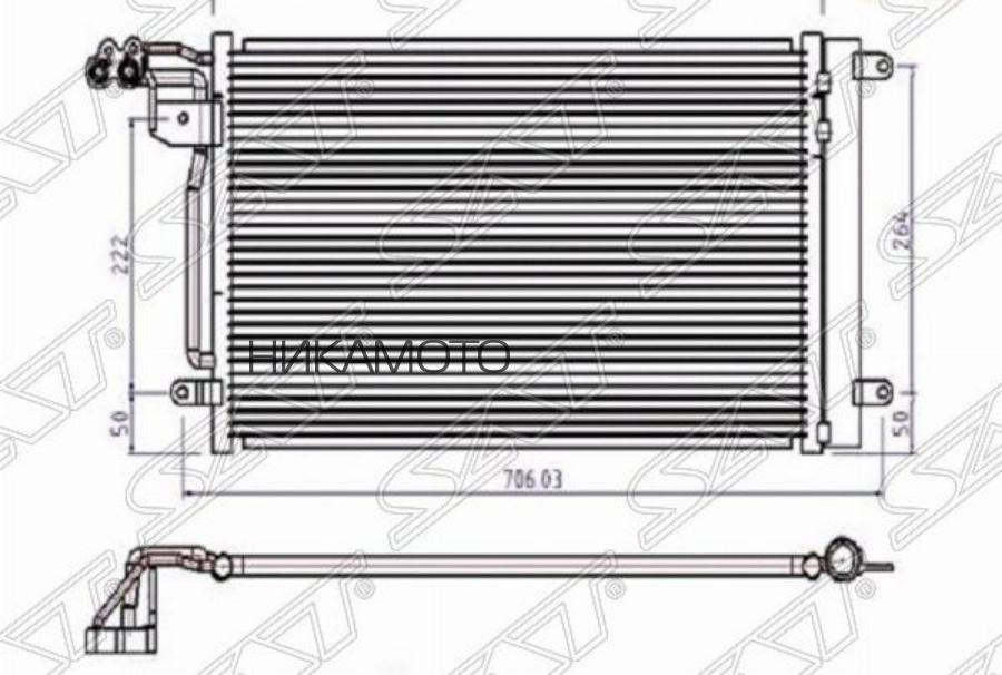 Радиатор кондиционера AUDI A1 10- / SEAT IBIZA 08- / SKODA FABIA 1.2T / 1.6TD 07- / VW POLO SEDAN / HBK