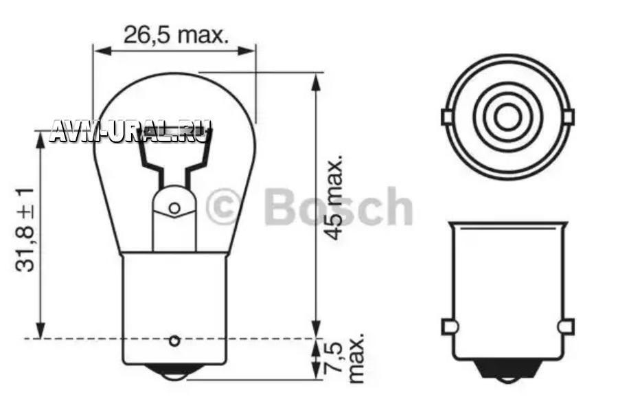 Лампа 12V 21W BOSCH (1 конт)