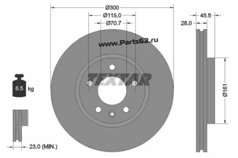 Диск тормозной передний (300x26)