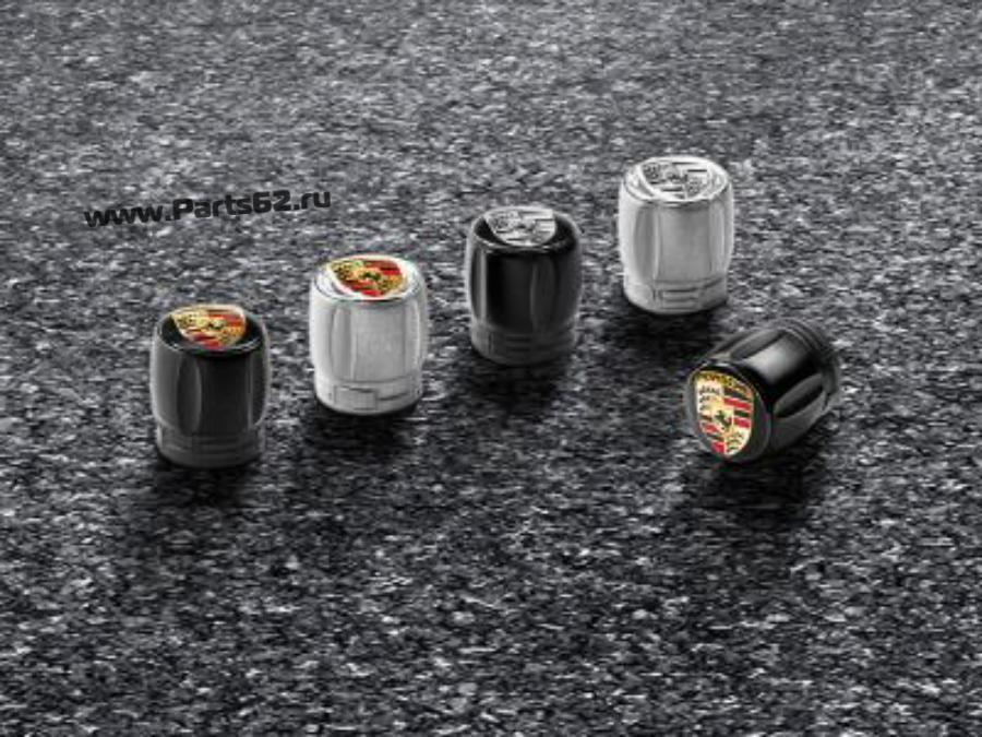 Набор из четырех колпачков для колесных ниппелей Porsche черный корпус / цветной герб
