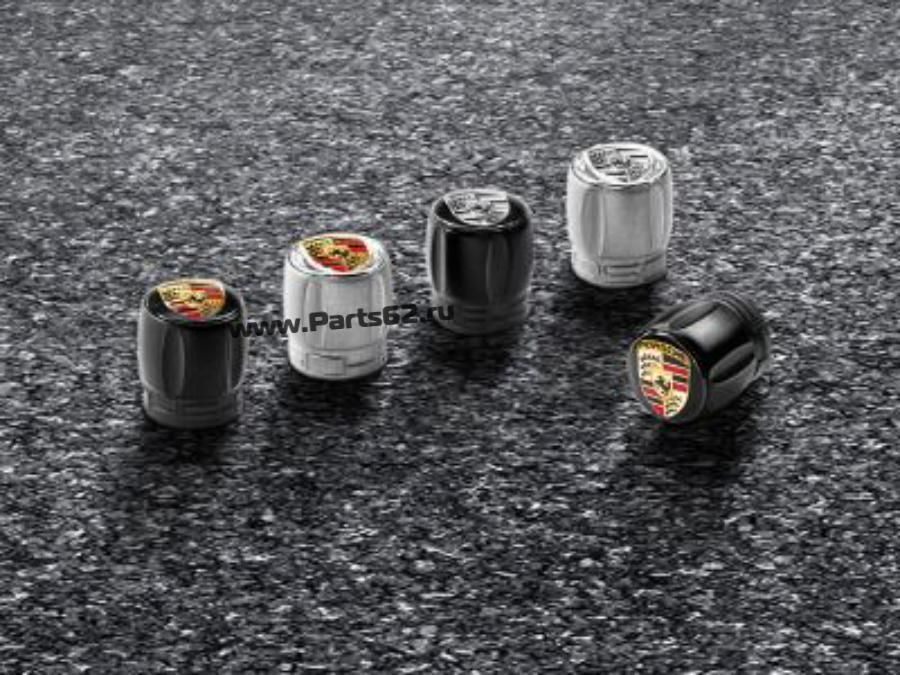 Набор из четырех колпачков для колесных ниппелей Porsche серебристый корпус / цветной герб