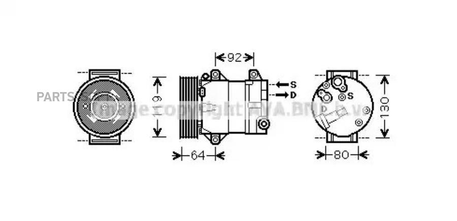 Компрессор кондиционера RENAULT GRAND SCENIC II (JM0/1_) 04-,MEGANE II (BM0/1_, CM0/1_) 02-05,MEGANE II  DENSO DCP23066