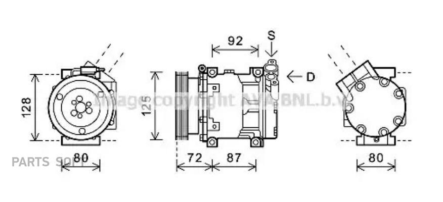 Компрессор кондиционера DACIA DUSTER 10-,LOGAN (LS_) 04-,LOGAN MCV (KS_) 07-,SANDERO 08-;RENAULT LOGAN ( DENSO DCP37002