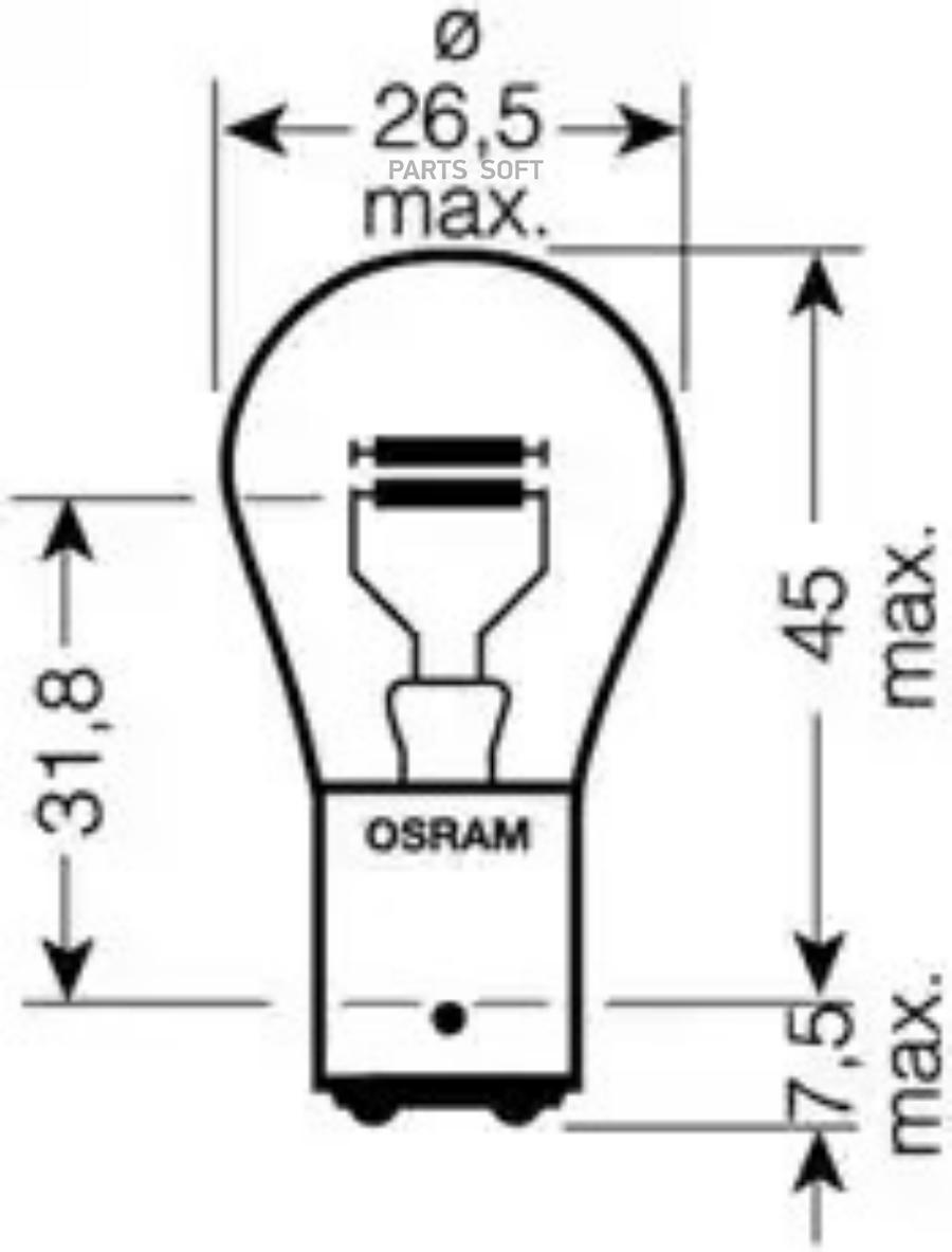 Лампа P215W 12V BAY15d 7528 *Osram