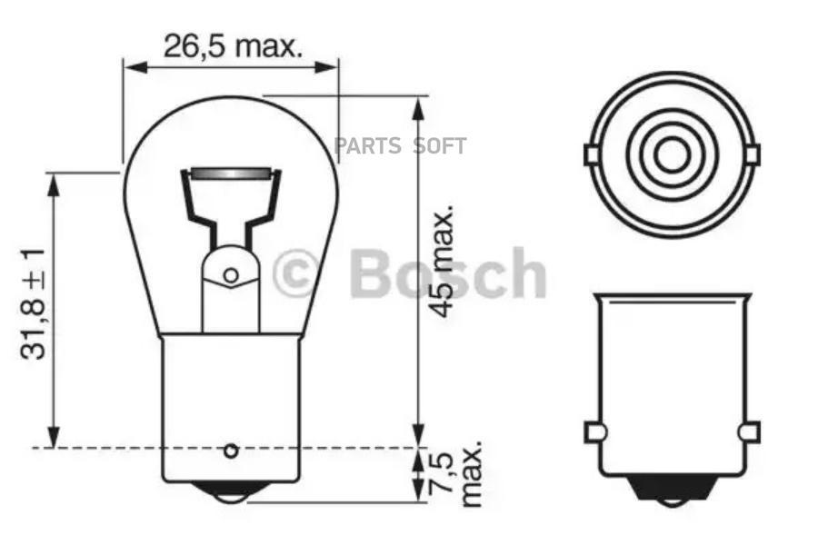 Лампа Pure Light Standart 12V P21W 21W *BOSCH