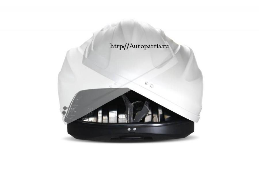 Автобокс на крышу Белый Turino Sport (480 л) Аэродинамический с двусторонним открыванием
