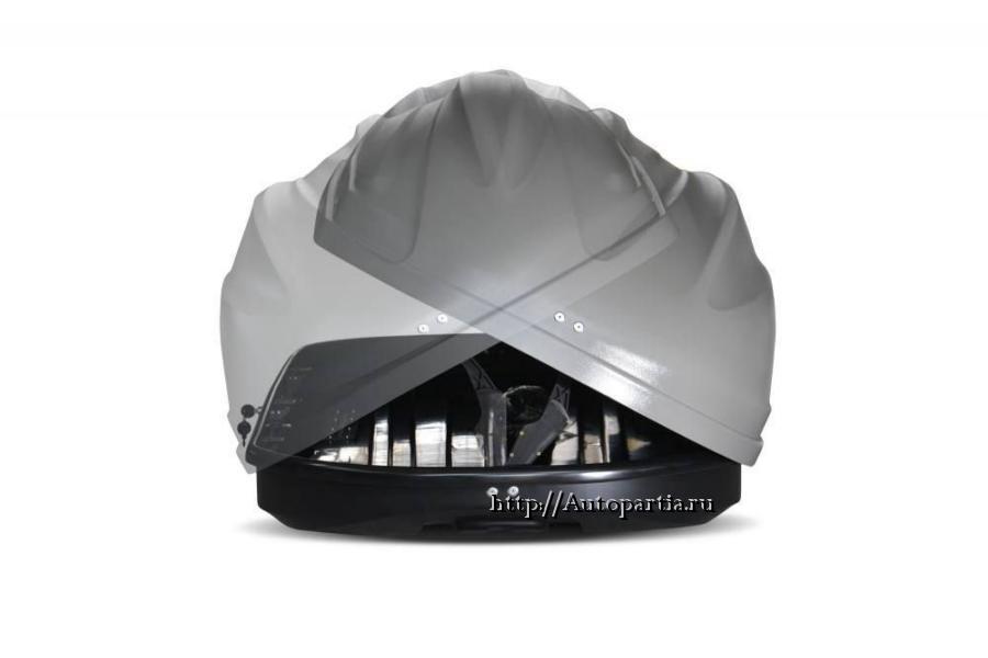 Автобокс на крышу Серый Turino Compact (360 л) Аэродинамический с двусторонним открыванием