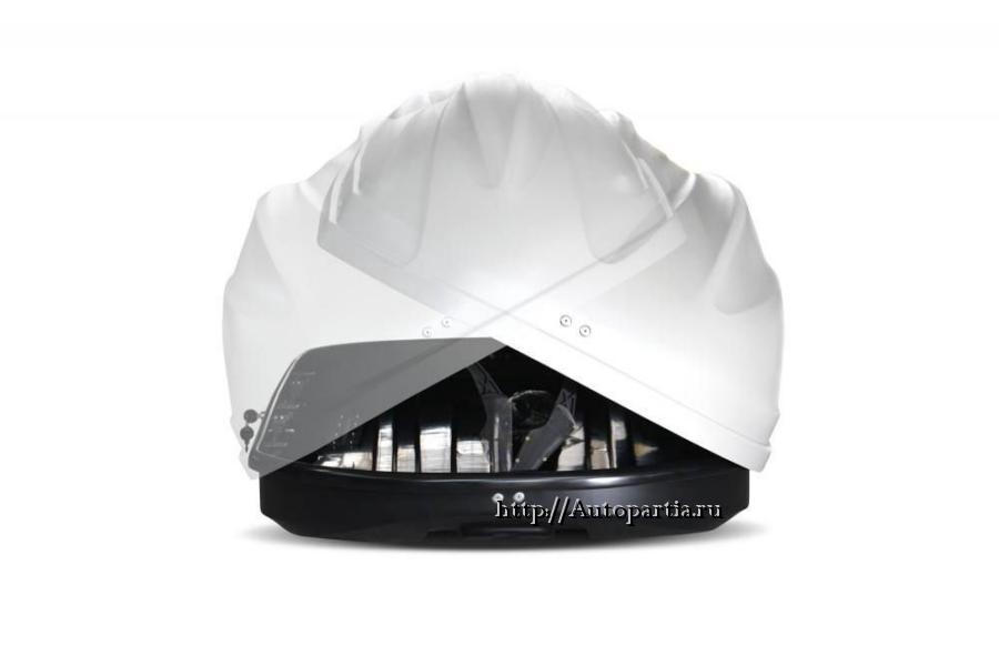Автобокс на крышу Белый Turino Compact (360 л) Аэродинамический с двусторонним открыванием