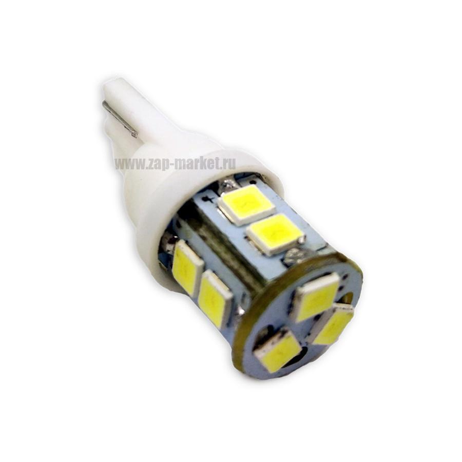 T113 T10/белый/ (W2.1x9.5D) 11SMD 2835 12V W5W,блистер. 2 шт.