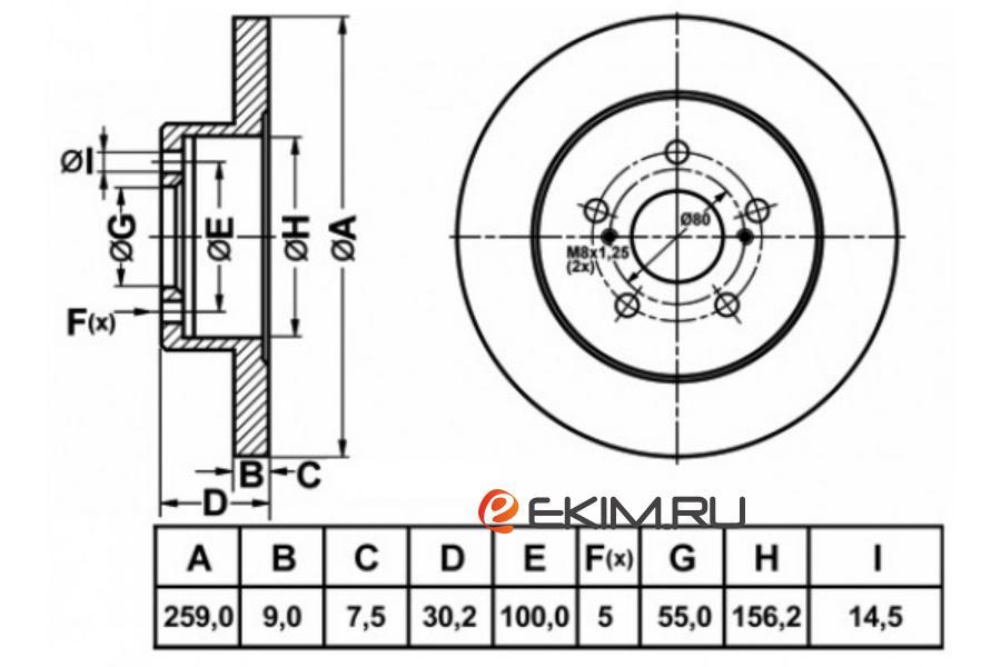 Диск тормозной RR TOYOTA PRIUS ZVW30 09-