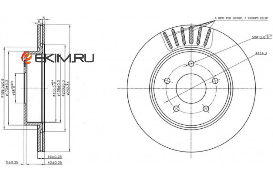 Диск тормозной RR NISSAN X-TRAIL T32 14-