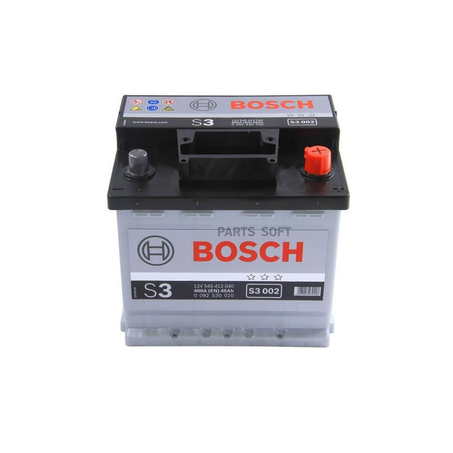 Аккумулятор BOSCH S3 002 12V 45Ah 400A 207x175x190 /-+/