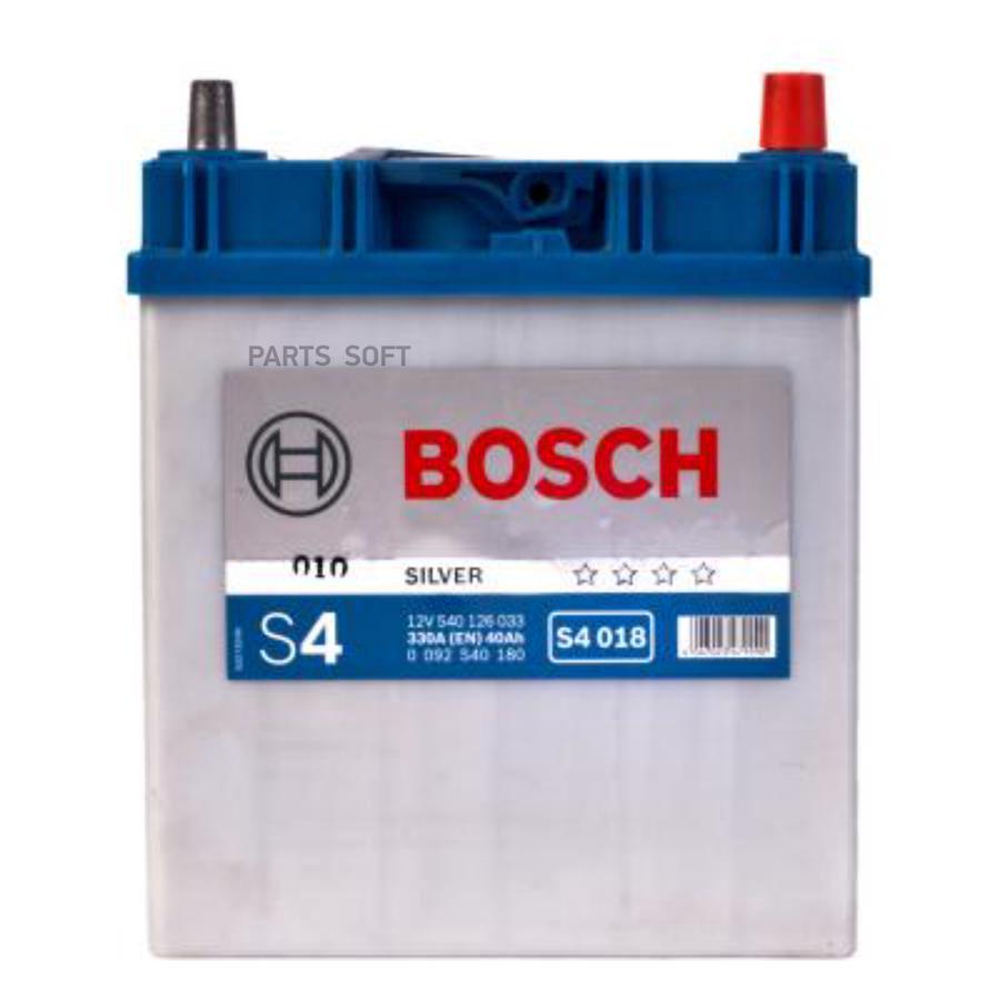 Аккумулятор BOSCH S4 018 12V 40Ah 330A 187x127x227 /-+/