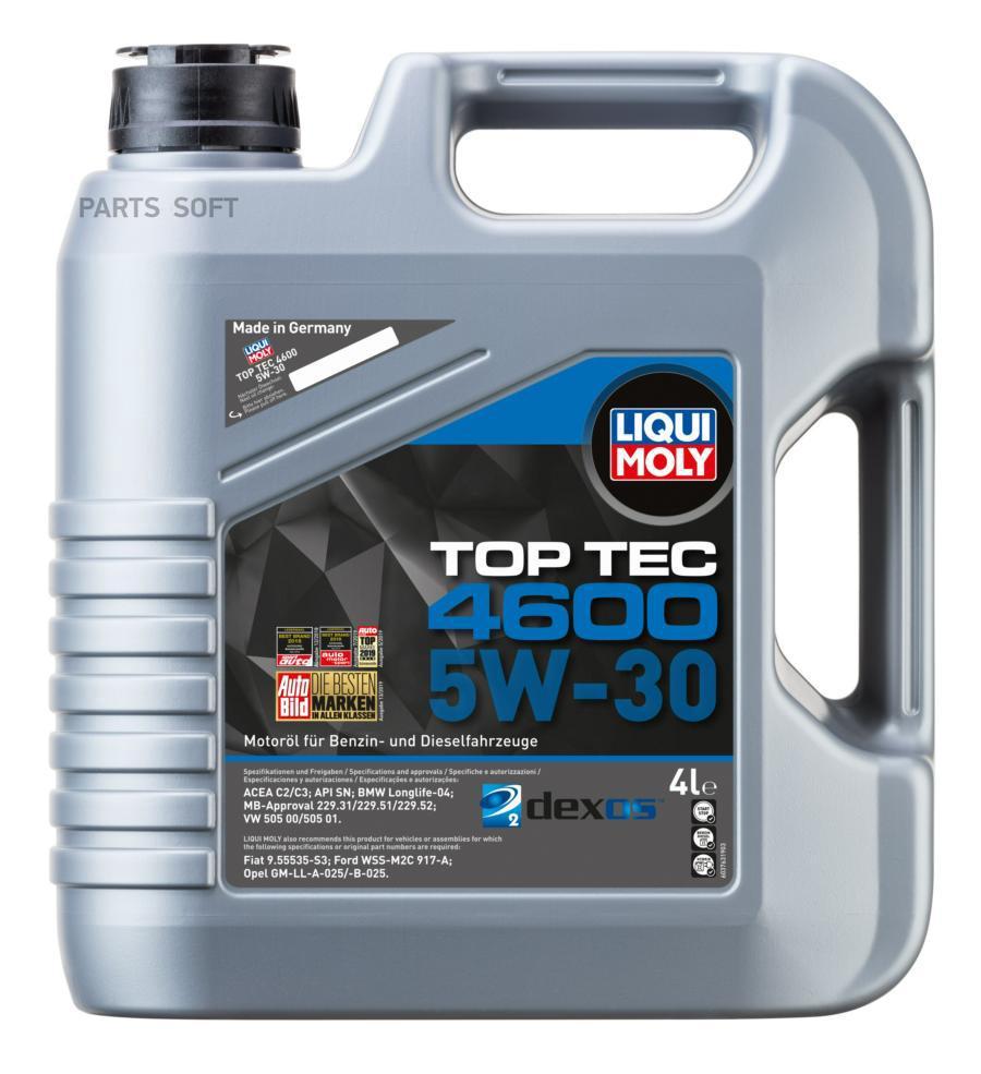 LiquiMoly НС-синт.мот.масло Top Tec 4600 5W-30 SN/CF, C3 (4л)