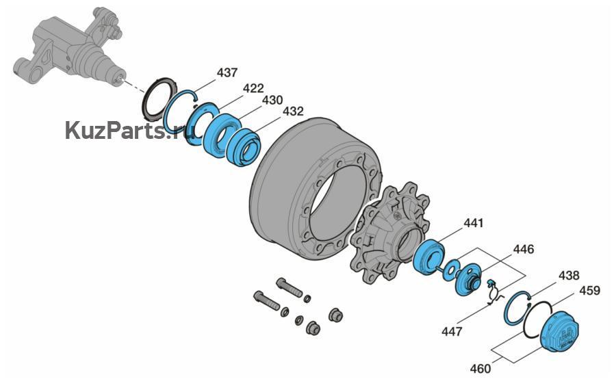 Ремонтный комплект,конический роликоподшипникс осевым болтом и колпакомПоз. 422, 430, 432, 437 - 460