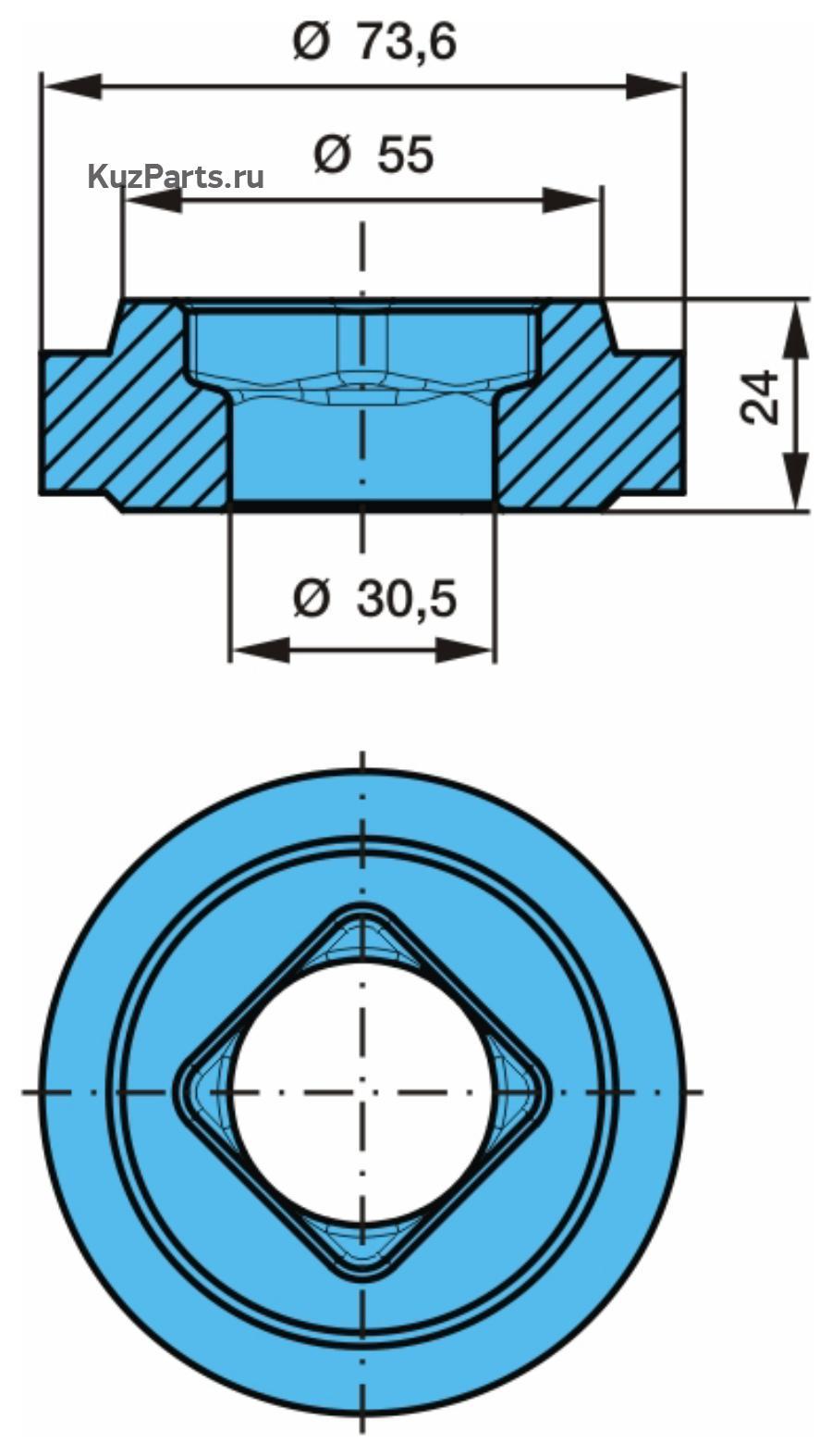 ВтулкаСтопор против прокручивания с квадратом внутри, сменная шайба отдельно