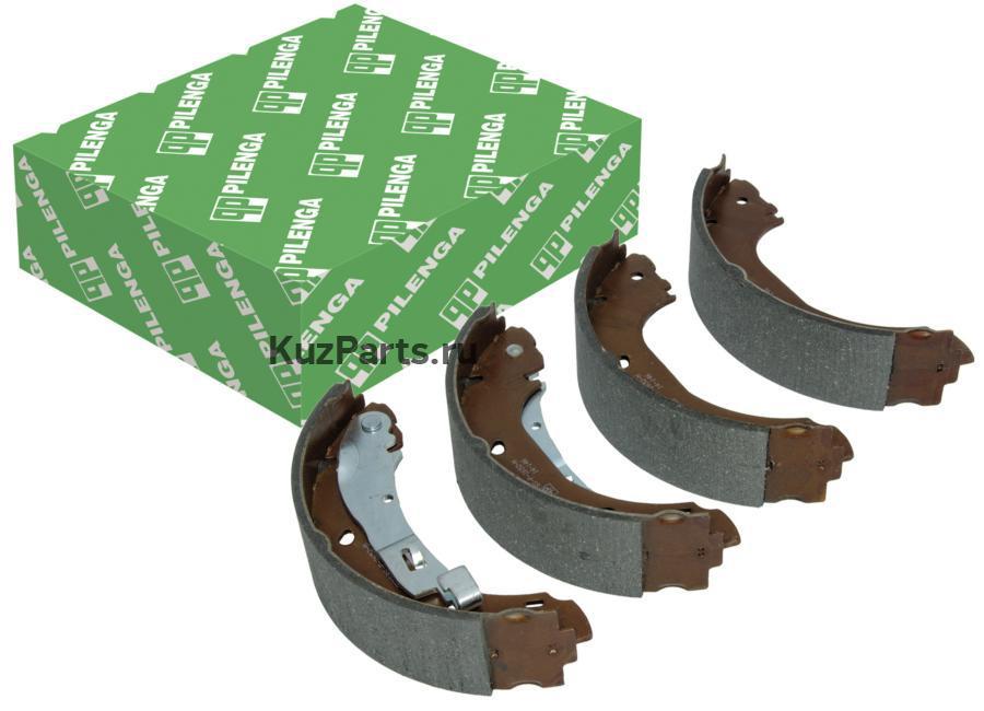 Колодки тормозные барабанные задние со скобами ручника, усиленные, Pilenga