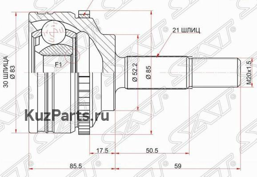 Шрус наружный RENAULT CLIO II 98-08 / KANGOO 97-09