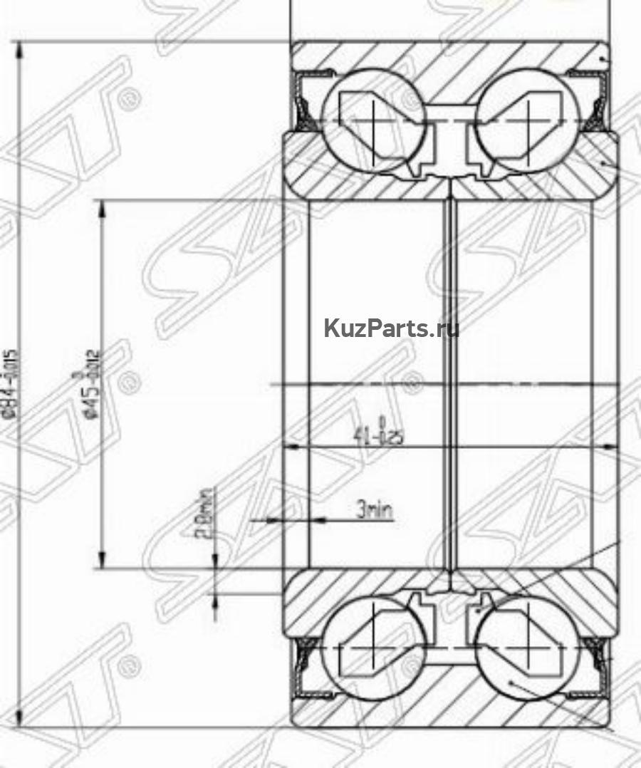 Подшипник перед ступицы HYUNDAI SANTA FE / SONATA(ТАГАЗ) / KIA SPORTAGE 04- / MMC SIGMA / RVR 91-97