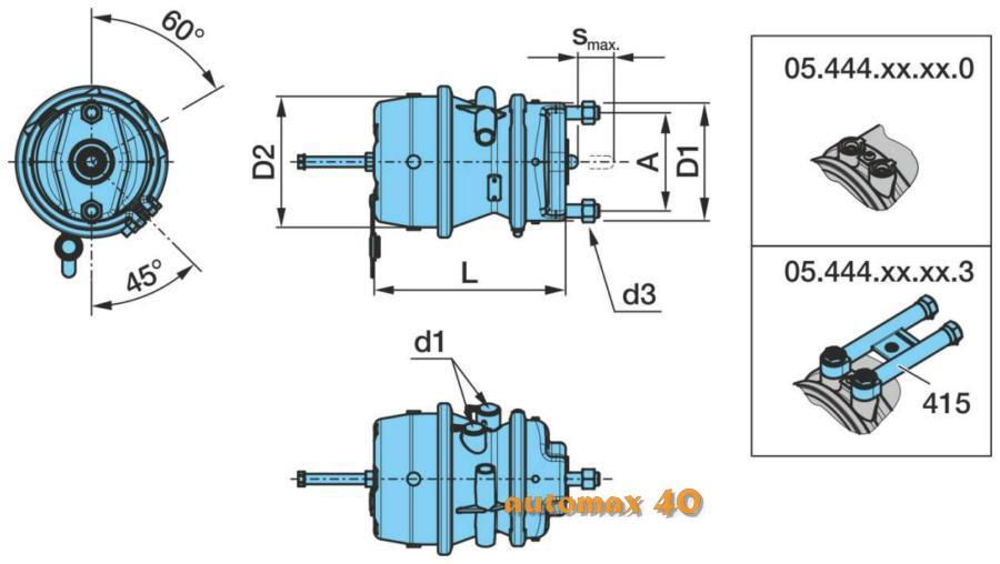 Тормозной цилиндр с пружинным энергоаккумулятором