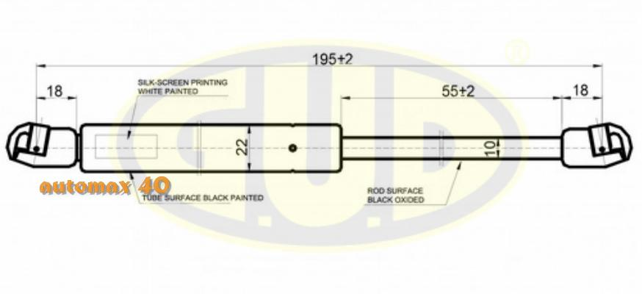 АМОРТИЗАТОР КАПОТА PGT 406 (8B) (8E/F) (8C) 10/95-