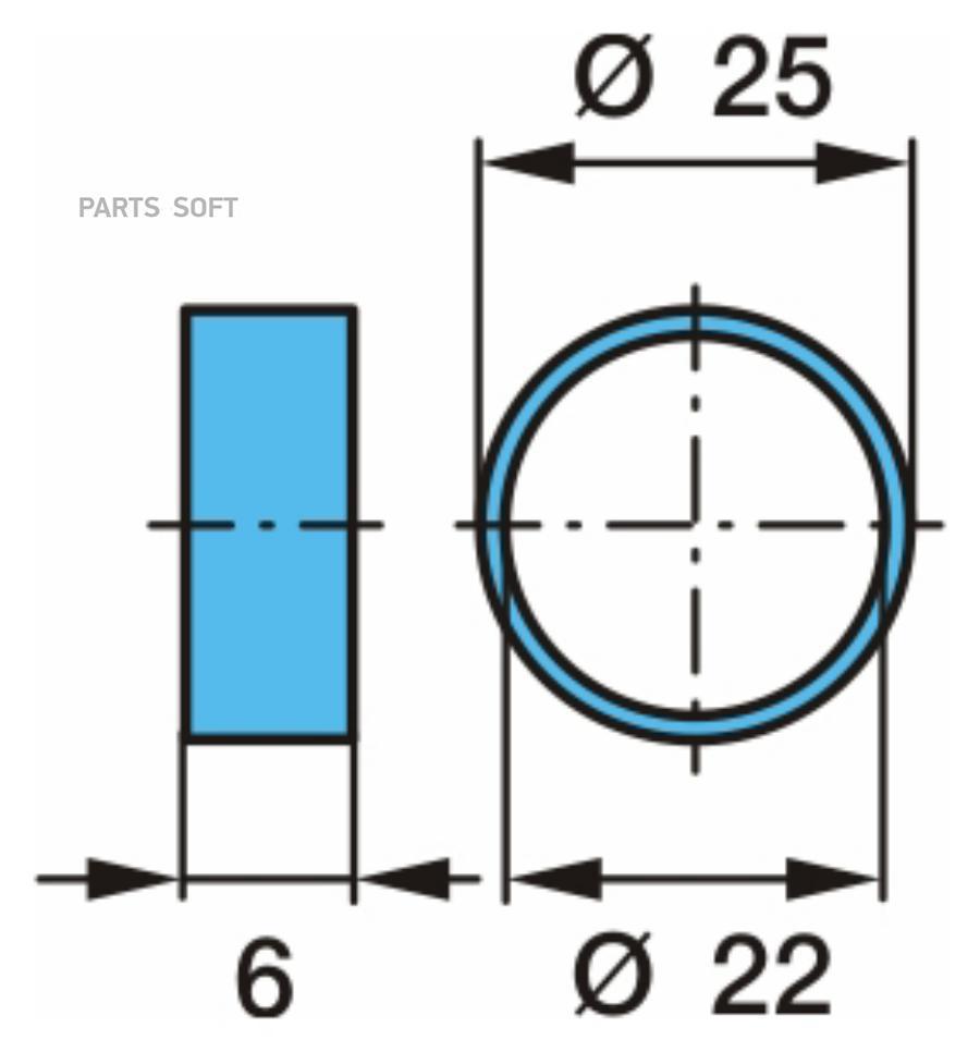 Втулка BPW / для центровки одинарного колесного диска _ Ø22-Ø25-6h _ сталь / Oe