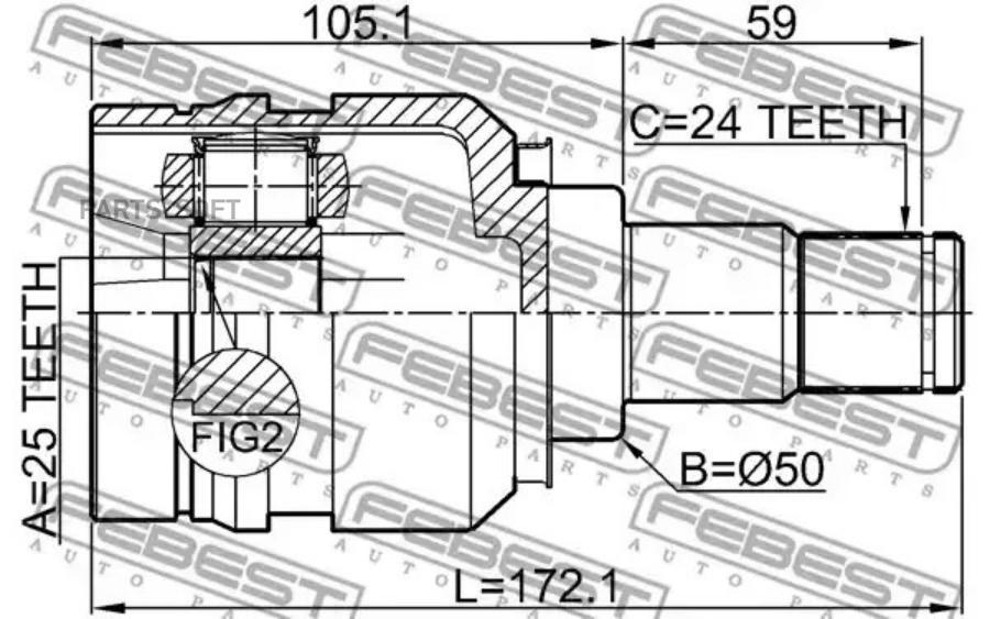 Шрус внутренний LH TOYOTA PRIUS ZVW30/AURIS ZWE150/LEXUS CT200H ZWA10