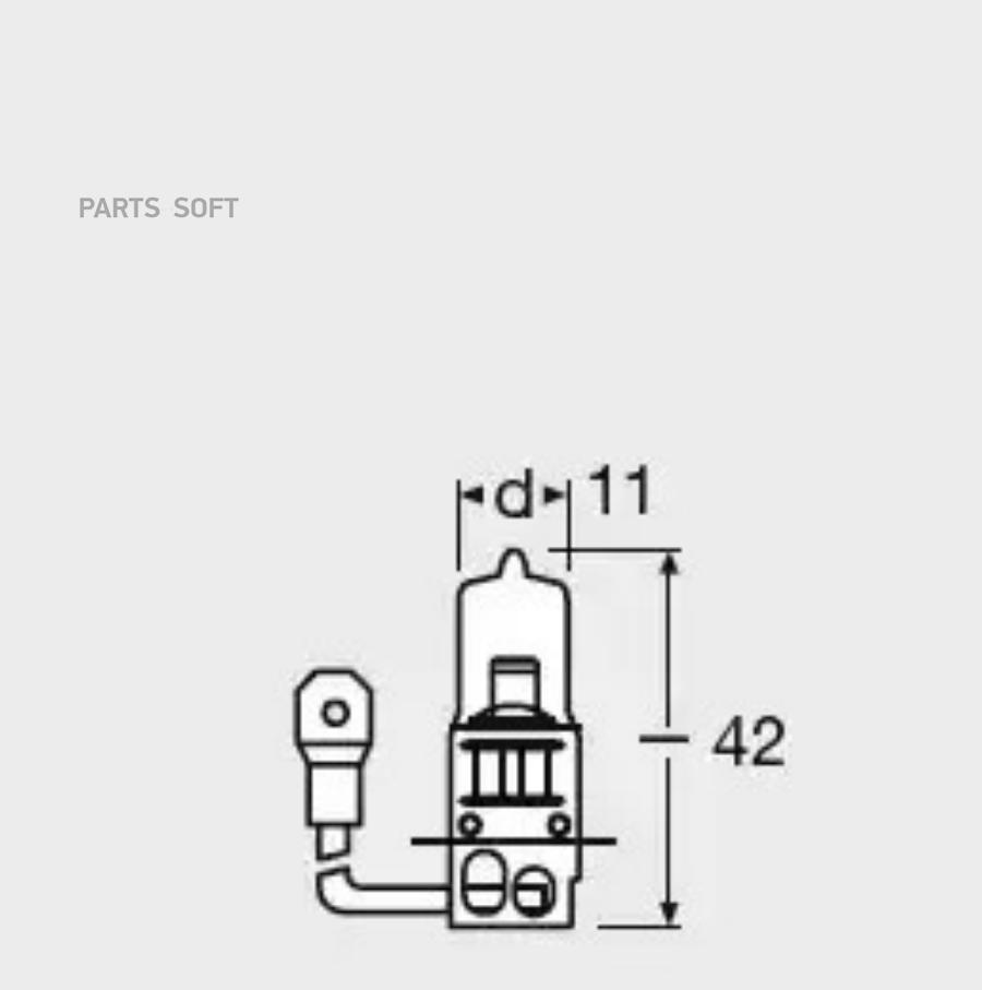 Лампа H3 автомобильная 12V 55W PK22s
