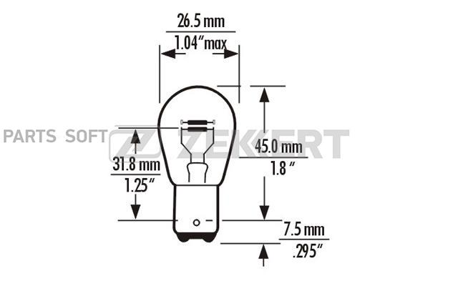 Лампы P21/4W 12V 21/4W