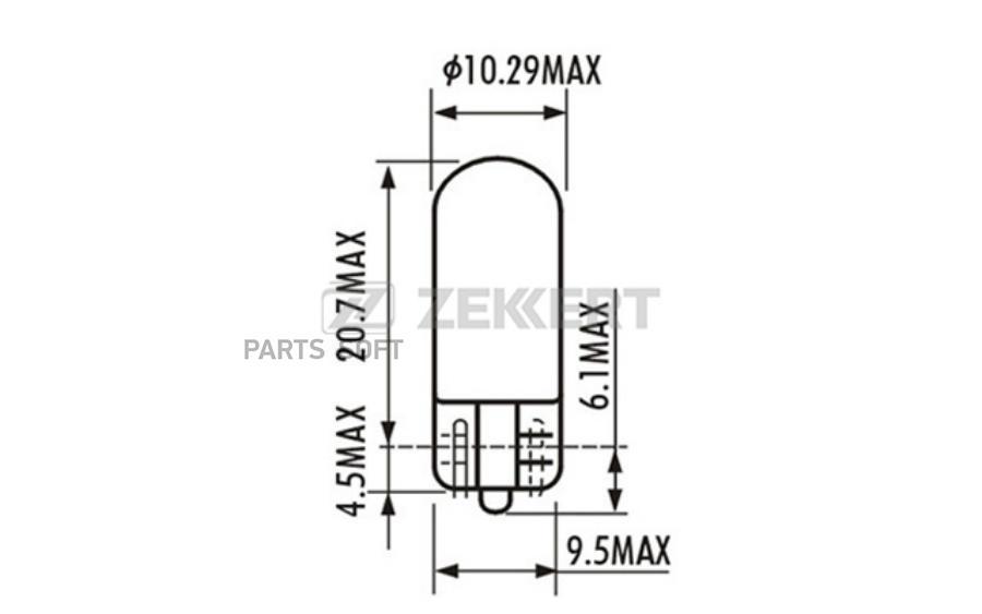 Лампа W3W 12V 3W 1X9 5d