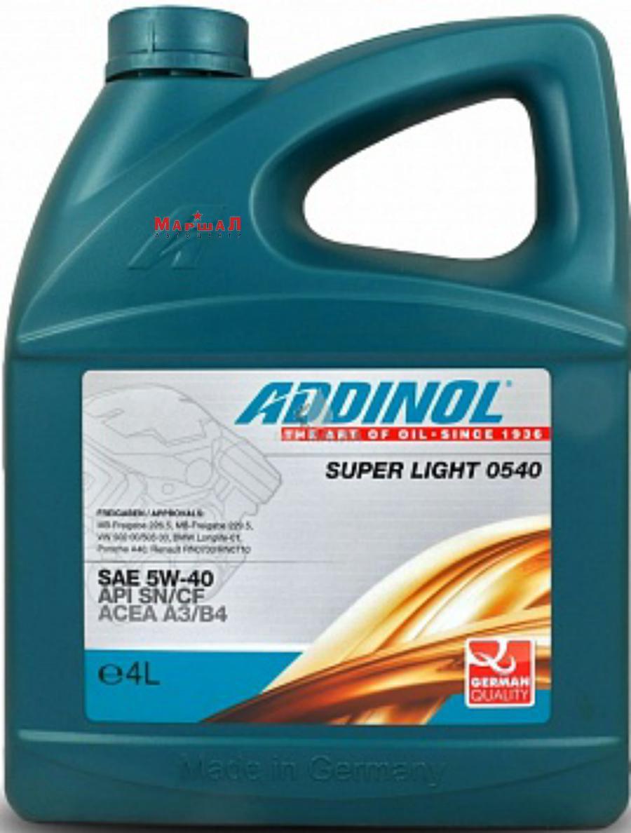 Масло моторное синтетическое Super Light 0540 5W-40, 4л