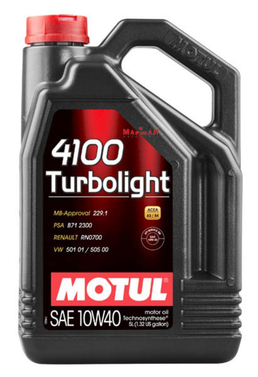 Масло Motul 4100 Turbolight 10W40 мот.п/с. A3/B4 (4л)100355