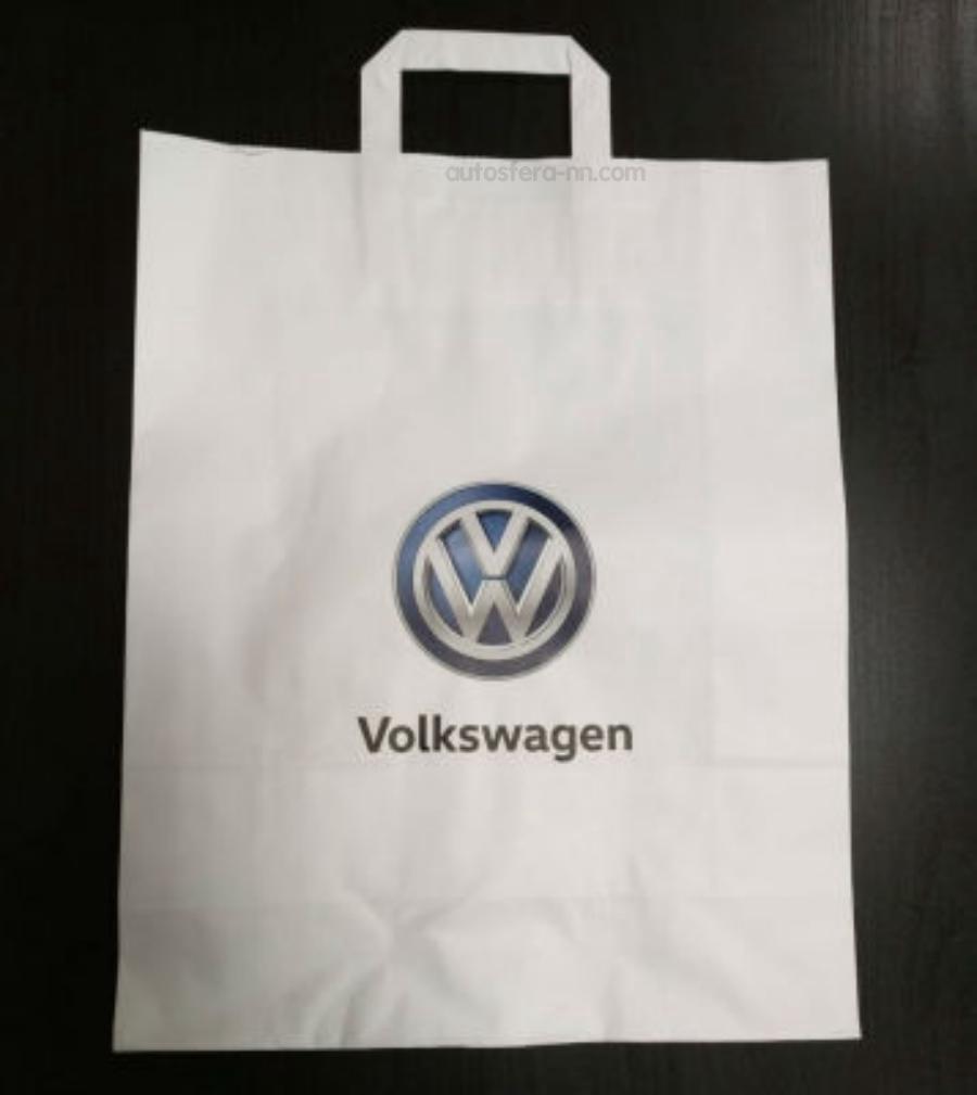 Бумажный подарочный пакет с ручками Volkswagen Logo Paper Bag White S-size