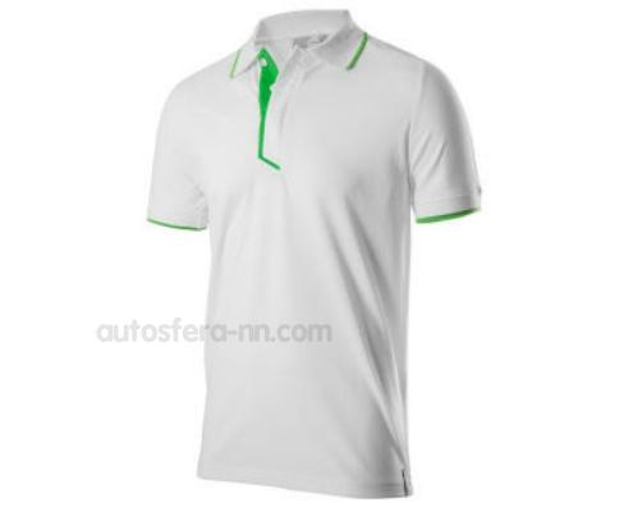 Мужская рубашка-поло Skoda Polo Shirt Mens Essential Collection White/Green