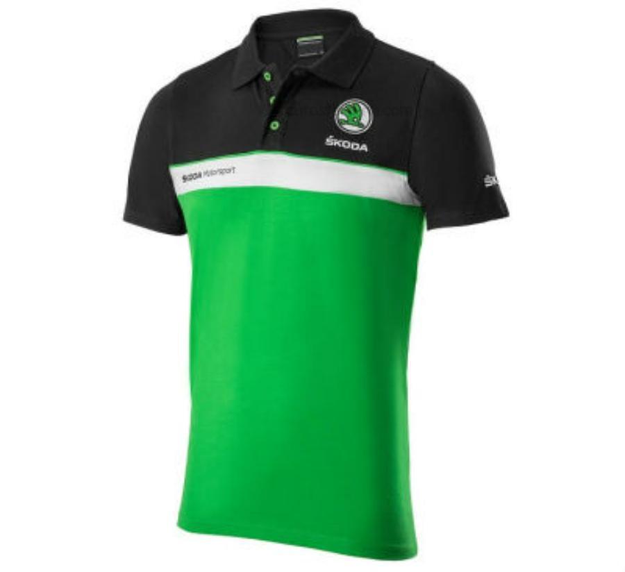 Мужская рубашка-поло Skoda Mens Motorsport Polo Shirt Black/White/Green