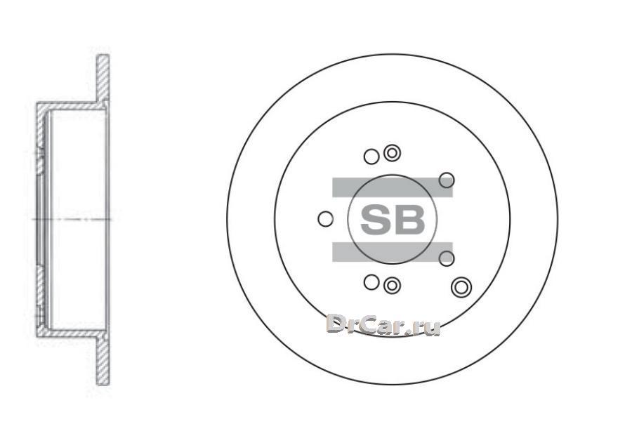 Диск тормозной HYUNDAI ix35/SANTA FE (SM)/TRAJET/TUCSON/KIA SPORTAGE 04- задний SANGSIN SD1052