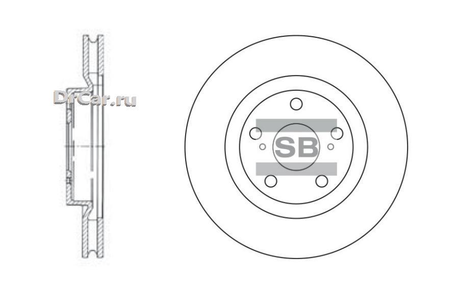 Диск тормозной передний (296х28) 5 отв SANGSIN BRAKE SD4021