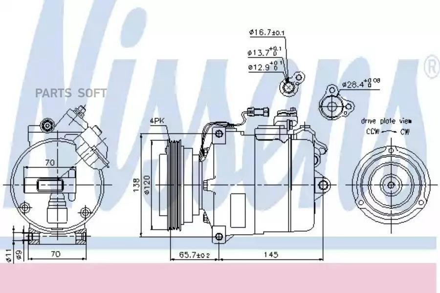 Компрессор кондиционера AUDI A4 (8D2, B5) 94-00,A4 Avant (8D5, B5) 94-01,A6 (4B, C5) 97-05,A6 Avant (4B, DENSO DCP02006