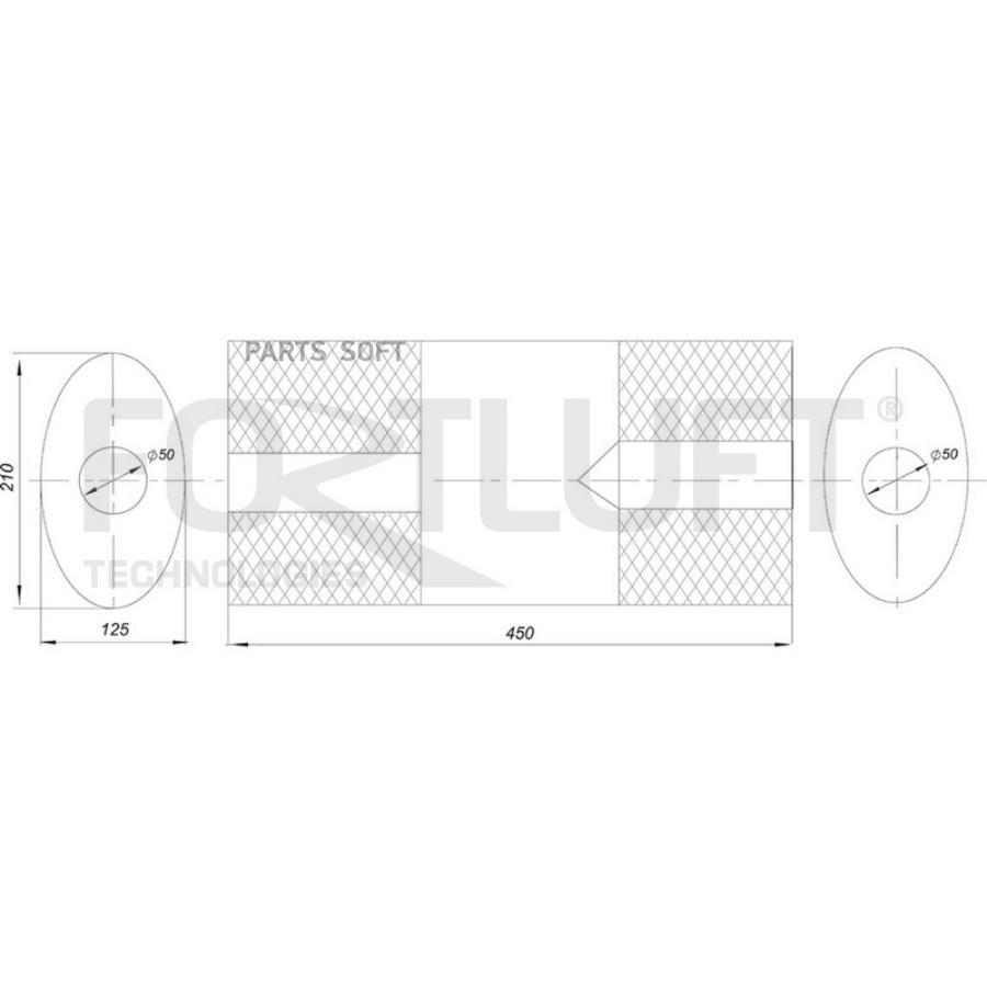 Универсальный глушитель 210x125x450 труба 50 101AL